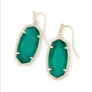 Kendra Scott Dani Gold Drop Earrings in Emerald